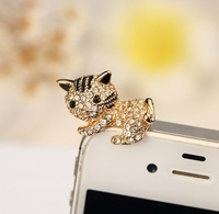 New Super Cute 2 Colors Cat Anti Dust Plug Mobile Phone 3.5mm Ear Jack Cap  DIY Jewelry Wholesale Free Shipping
