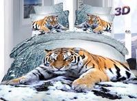 3d tiger comforter cover queen size 4pcs Animal printed duvet cover bed sheet bedclothes cotton bedding set home textile