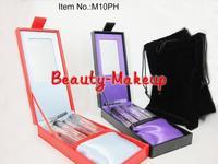 1set top quality 10pcs Professional Makeup Brush sets & Cosmetic Tools Kits + PU Hard boxed, with BB Logo, Free Shipping