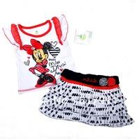 Free Shipping wholesale 3pcs/lot Girls Minnie Mouse Clothing baby branded clothing set white sleeveless t-shirt+ tutu skirt