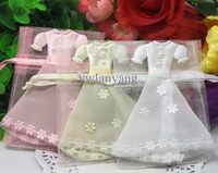 Organza Party Favors Boxes, Dress Gift Packaging Bags, Bride groom Favour holding Cases 120pcs/lot