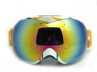 Free shipping Fashion Snowmobile Motorcycle Ski Goggles colorful Frame Dual Lens Anti-Fog Snow Ski Snowboard Goggles colour Lens