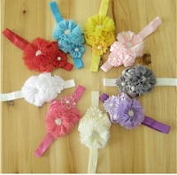 Baby Chiffon Flowers Double Rose Headwear Satin Flower Bows Rhinestone Pearl Hair Bands Baby Elastic Headbands  Hair Accessories