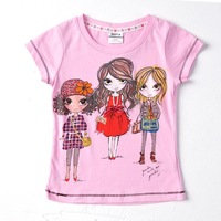 2013 fashion wholesale 3y-8y 5piece/lots printed beautiful girls summer short sleeve cotton T-shirt girls K4011# Free shipping