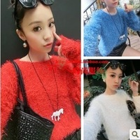 2013 women's autumn and winter new arrival high quality sweet mohair pullover clothes