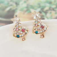 Freeshipping 925 pure silver zhaohao high quality earrings crystal / christmas tree earrings