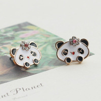 Freeshipping Girlbox high quality stud earring panda head sparkling / flower earrings