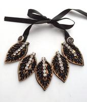 2013 Fabric fake collar black crystal good short necklace leaf models false collar necklace wholesale women 2013