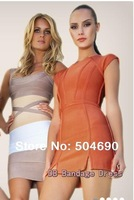 Free shipping 2013 Orange Short Sleeve Mini Jap Bandage Celebrity Dress Cocktail Party Evening Dresses HL883