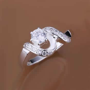 R158 Wholesale! Free shipping! high quality 925 Sterling silver fashion jewelry, inset Stone twist line Ring R158(China (Mainland))