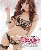 Sexy Lingerie Leopard Underwear with G-String Butterfly Women's Nightwear Hot Girl Sleepwear  free shipping