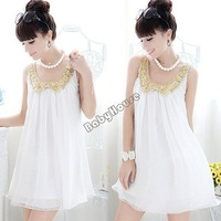 3pcs/lot New Casual Women Pregnant Clothes Sequins Doll Collar Sleeveless Chiffon Mini Loose Maternity Dress White 12236