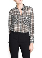 Button European style 2013 New Popular Design Lady Casual Blouses Good Quality Women Career OL Plaid Shirt Free Shipping 1077