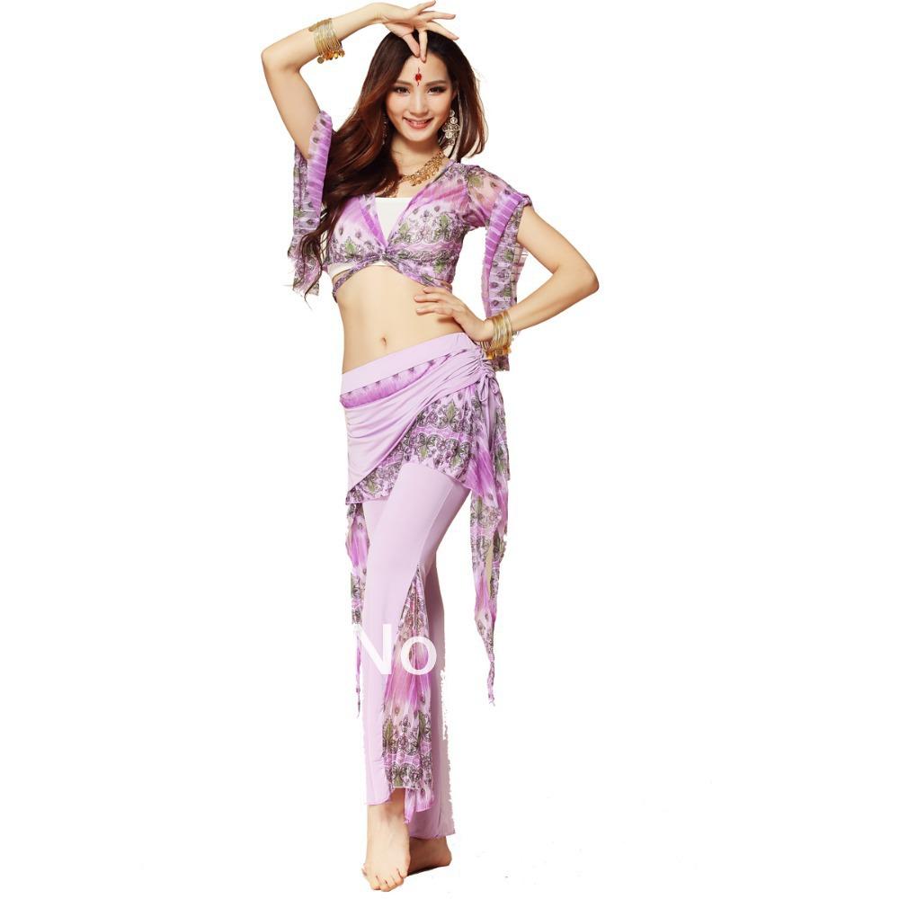 Beautiful Peacock Pattern Belly Dance Costume practice Set 2 Pcs Bra Top + pants(China (Mainland))
