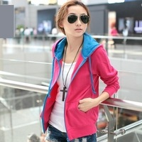 Spring and autumn cardigan female sweatshirt the trend of women loose plus size sweatshirt casual thin hooded outerwear