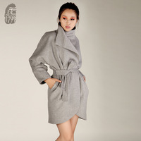 Puff batwing sleeve woolen overcoat women's long design wool outerwear original design 2012