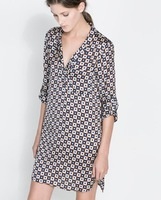 2013 New free shipping Fashion casual cotton medium-long 100% Geometric shirt women's slim flannel shirt 1073