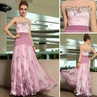 Beauty ironing rhinestone brooch dress party evening elegant long 2013 pink purple