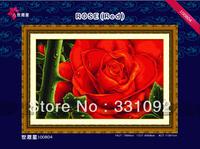Elegant Red Rose 11CT precise printed aida fabric handcraft cross stitching kits free shipping