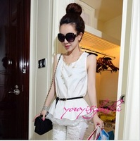 Fashion women's 2013 sweet double layer ruffle dress belt white small dress vest