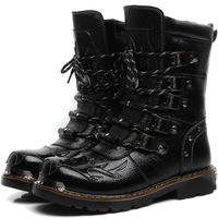 Free Shipping!trend knee-high male boots genuine leather horse boots denim boots