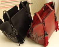 new 2013 rivet messenger bag women messenger bag genuine leather shoulder bag  skull Wine red tassel bucket bag