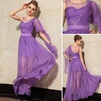 tencel chiffon light purple evening gown with Sequins decoration(Transparent single sleeve dress )