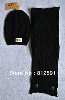 Free Shipping Women Wool Hat Scarf Two Piece Set Twist Pattern Button Girl Leisure Fashion Lady Woolen Yarn Warm Caps