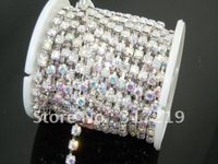 Free shipping Rhinestone cup chain ss38 Crystal Clear rhinestone Silver base 10 roll/lot Use for garments accessories