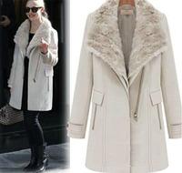 new year winter european style outwear for women designer coat of rabbit real fur collar long woolen overcoat cream black WJ3018
