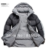 Free shipping 2013 New Men Double Side Wear Thicken Winter Outdoor Windbreaker Heavy Coats Down Jacket Clothes L XL XXL 3XL 4XL