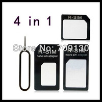 100Pcs/Lot 4 in 1 adapters Nano SIM & Micro SIM & Standard SIM card adapters White For Iphone 5 / 4S/ 4+Retail Package