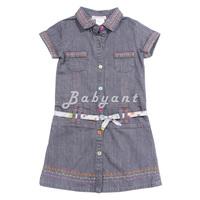 Children's clothing dan female child denim short-sleeve dress catimini 2-8a ja