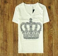 New 2013 brand fashion Mr . cyc limited the appendtiff ! summer big rivet short-sleeve T-shirt white  crown t shirt