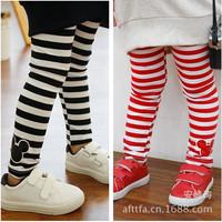 retail children's legging girl's mouse head stripes printed leggings kid's leggings 2 color