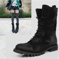 New Arrival Free Shipping Finishing Nubuck Cowhide Lacing Flat Heel Round Toe Medium-Leg Boots Motorcycle Boots
