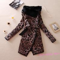 2014 Winter Brand Fashion RABBIT Fur Collar Pu Leather Patchwork Tiger Leopard Print Coat Long Warm Overcoat Plus Size M-4XL Y95