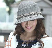 Free Shipping Elegant Lady Hat Felt Wool Hats Women Church Hat Top Good Quality Natural 100% Wool Made Cloche Bucket Hat