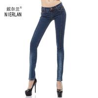 2013 autumn women's plus size elastic skinny jeans female patchwork denim pencil trousers