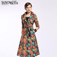 2013 women's fashionable denim fancy autumn new arrival long design slim women's trench fy-5129