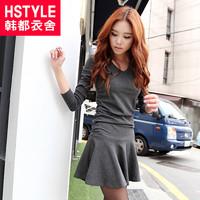 Hstyle 2013 autumn women's V-neck basic long-sleeve dress slim