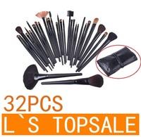 HOT SALE ! 32pcs 32 pcs Cosmetic Facial Make up Brush Kit Makeup Brushes Tools Set + Black Leather Case L-1025,Free Shipping