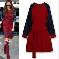 Free shipping  New 2013 womens sashes elastic silk  cotton sleeve Victoria beckham dress  plus size xxl xxxxl xxxxxl  dresses