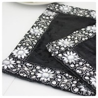 Luxury diamond gold velvet black placemat coasters heat insulation pad disc pads table mat bowl pad coffee table slip-resistant