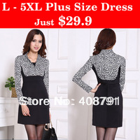 2013 Plus Size XXXXL/5XL Leopard Print Elegant OL Business Long-sleeve Dress,Large Size Black Casual Dress,Women's Fashion Skirt