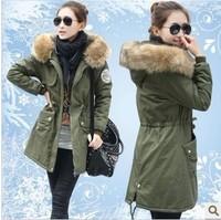 Winter 2014 Women's Army Green Large fur collar wadded jacket medium-long Women Outerwear Thickening Cotton-padded Jacket