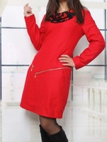 2013 women's Long Sleeve  Elegant Chiffon Collar Oblique Zipper Slim Dress Black  and   Red
