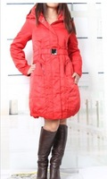 2013 New Women's Pure Color Zipper Pockets Long Sleeves Hooded Belted Coat Red