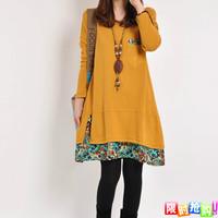 Autumn new arrival 2013 mm casual plus size clothing elegant slim basic skirt long-sleeve dress