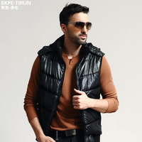 St spring new arrival men's clothing vest personality casual outerwear with a hood slim thermal clothing villus